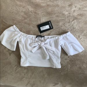 White Puff Sleeve Pretty Little Thing Crop Top